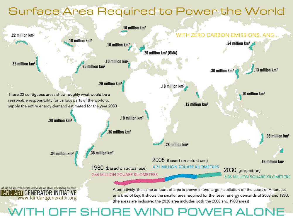 Wind Surface Area to Power the World Infographic